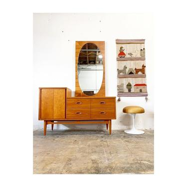 Mid Century Modern Vanity or Dresser with Mirror by Dixie by FlipAtik