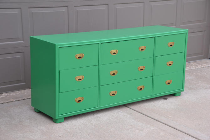 Campaign Drexel 9 drawer Dresser brass recessed hardware. finished in Kelly Green by Dianemarieshome