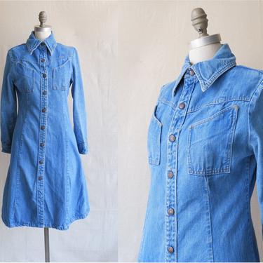 Vintage 70s Landlubber Denim Dress/ 1970s Long Sleeve Denim Duster/ Size Medium by bottleofbread