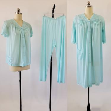 1970s 3pc Pajama Set Pants Top and Robe by Shadowline 70s Loungewear 70's Sleepwear Women's Vintage Size Medium by HeySailorNiceVintage