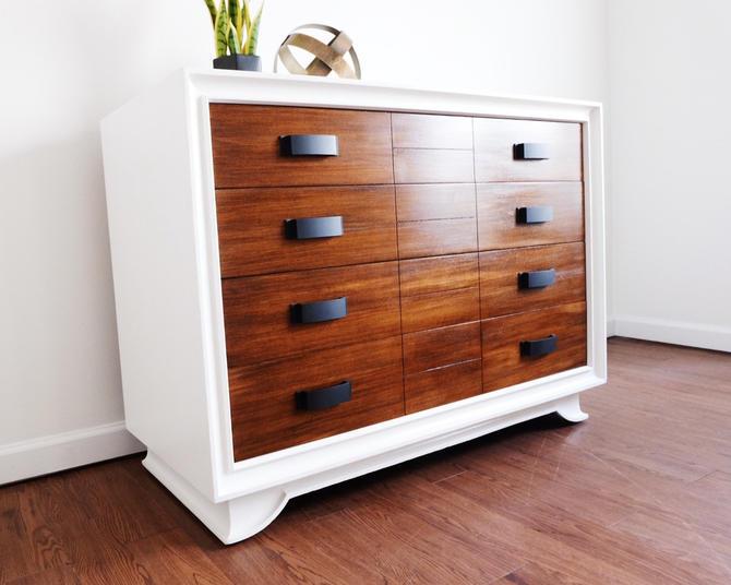 White and Walnut Dresser - Mid Century Modern Dresser - Changing Table by madenewdesignct