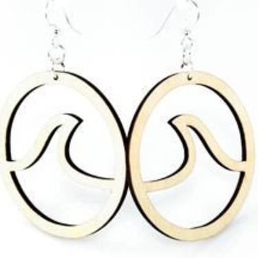 Wave in Circle Earrings - Laser Cut out of Reforested Wood by GreenTreeJewelry