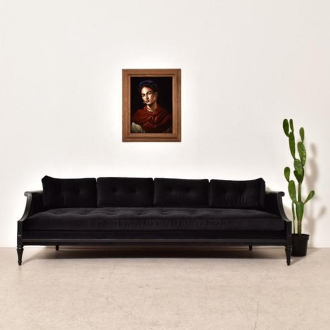 Vintage Black Velvet 1960's Sofa Restored