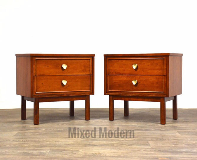 Cherry & Brass Dixie Nightstands- a pair by mixedmodern1