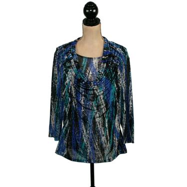 90s Y2K Polyester Knit Abstract Print Top, Drape Cowl Neck Blouse Large, 3/4 Sleeve Work Casual Clothes Women, Vintage from Susan Lawrence by MagpieandOtis