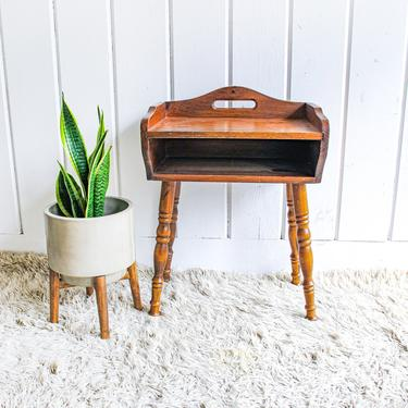 Vintage Small Spindle Leg Solid Wood Side Table with Shelf by PortlandRevibe