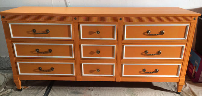 Mid Century Orange and White Dresser,Credenza,Buffet,Nursery Table by SimonSaysSalvage