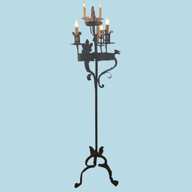 Vintage Wrought Iron Torchieres