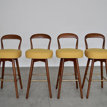 Set of Four Mid-Century Danish Modern Bar Stools by Henry Rosengren Professionally Refinished and Reupholstered in Knoll! by CyclicFurniture