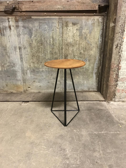 Round Side Table with Turned Alder Top and Triangular Steel Base by PWHFurniture