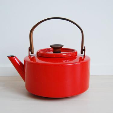 Mid Century Modern Copco Red Enamel Kettle with Teak Wood Handle Michael Lax Made in Spain by MidCentury55