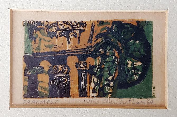 Mid Century Modern Woodcut Print Signed Ellen Nathan 1964 by ModandOzzie