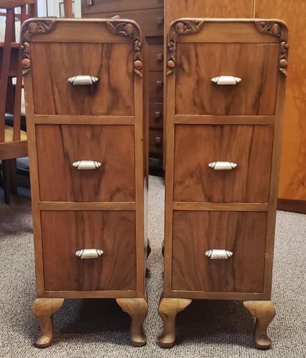 Item #DM313 Pair of Art Deco Burl Walnut Nighstands c.1930s
