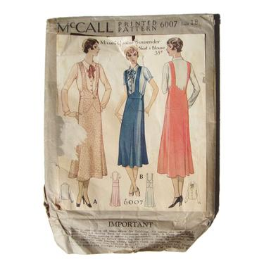 Vintage 30s McCall Printed Pattern 6007 Printo Gravure Size 18 Bust 36 by MetroRetroVintage