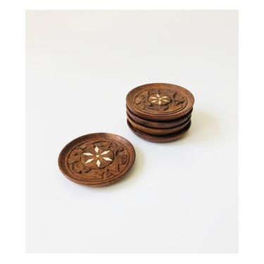 Set of 5 Vintage Carved Wood Coasters by SergeantSailor