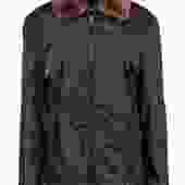 Prada - Dark Green Bomber Jacket w/ Fur Collar & Leather Trim Sz L