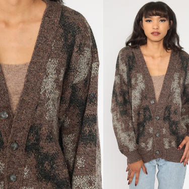 90s Cardigan Sweater Brown Geometric Sweater Button Up 1990s Slouchy Vintage Retro 80s Medium Large by ShopExile