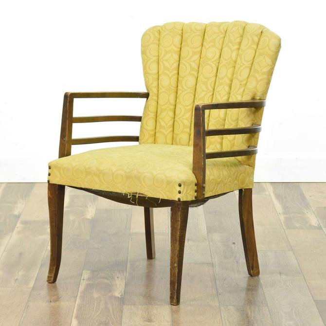 1940'S Yellow Channel Back Armchair