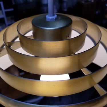 Lightolier Concentric Louvered Brass Pendant Light / Chandelier by JanakosAndCompany