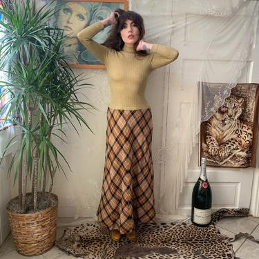 70's ARGYLE MAXI DRESS - golden top stretchy - i.magnin - x-small/small by GlamItToHell