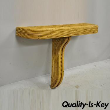 Gabriella Crespi Style Pencil Split Bamboo Reed Boho Chic Bracket Wall Shelf