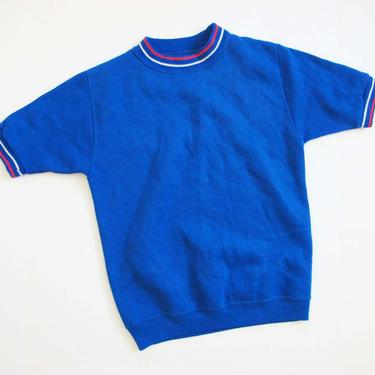 Vintags 60s Creslan Ringer Shirt S M  - 1960s Striped Mockneck Short Sleeve Sweatshirt - Solid Color - Blue 60s Shirt by MILKTEETHS