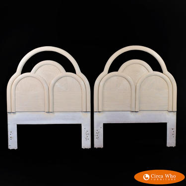 Pair of Blonde Pencil Reed Twin Headboards