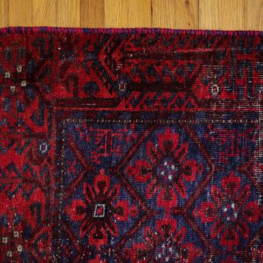 Antique Distressed Rug, Vintage Runner, Hand Knotted Persian, Wool Runner, Red Blue, Rich Colors, Pretty Vintage Runner by cedargrey