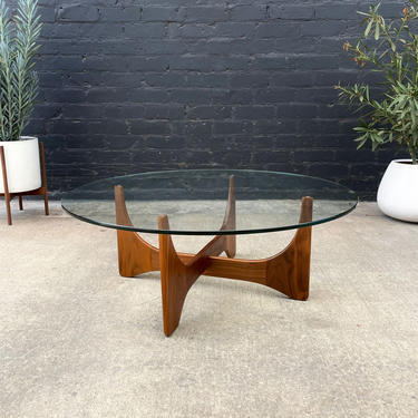 Mid-Century Modern Sculpted Walnut Coffee Table with Round Glass Top by VintageSupplyLA