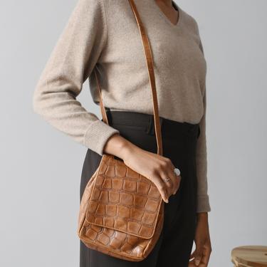 vintage croc leather bag / 90s crossbody purse by ImprovGoods