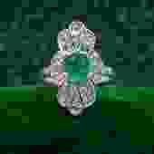 Emerald and Rose-cut Diamond Dinner Ring c1870