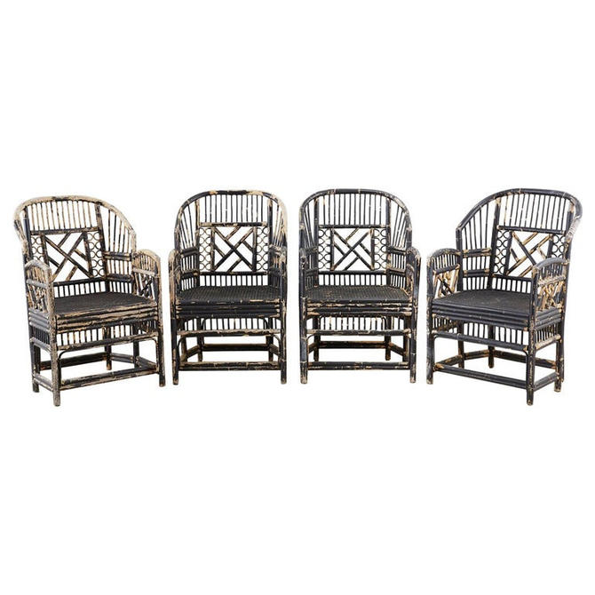 Brighton Bamboo Rattan Chinese Chippendale Lacquered Chairs by ErinLaneEstate