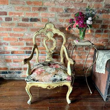 Fancy antique side chair with marble top brass plant stand