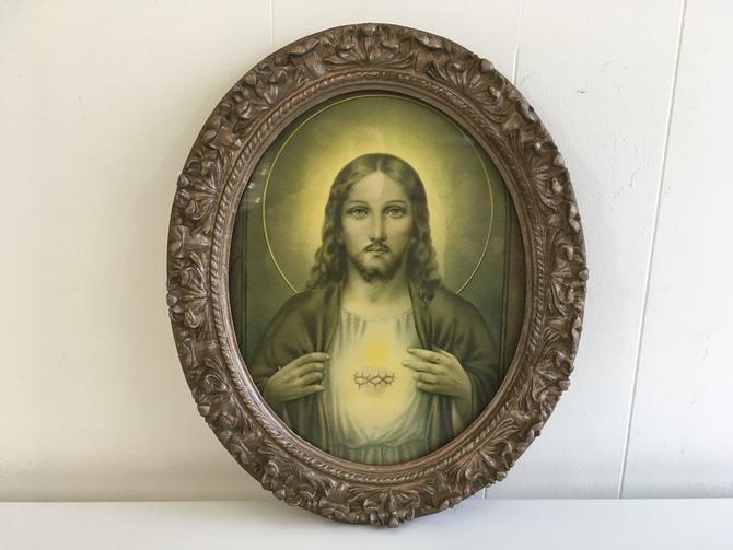 Vintage Framed Jesus Plaster Ornate Gold Frame Wall Hanging 1940s Plaque Religious Spirituality Mid-Century Religion Print Art by CheckEngineVintage
