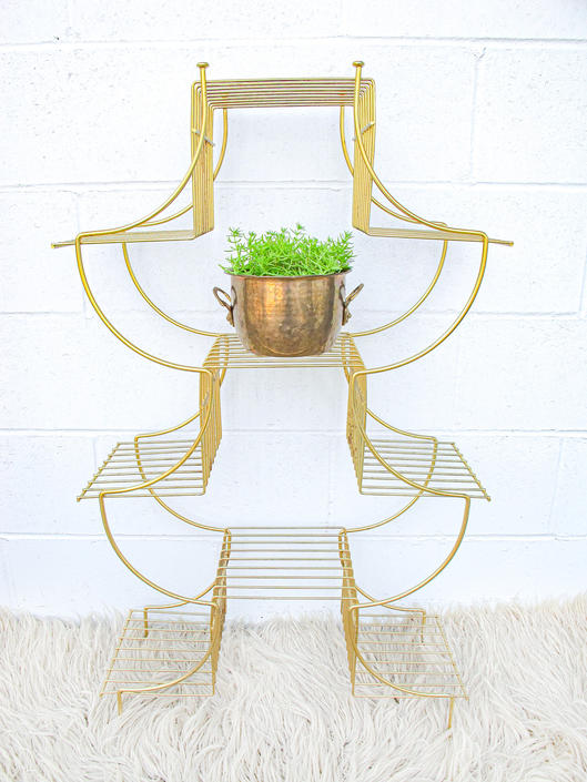 Midcentury Brass Flashed Pagoda Shaped Plant Stand by PortlandRevibe