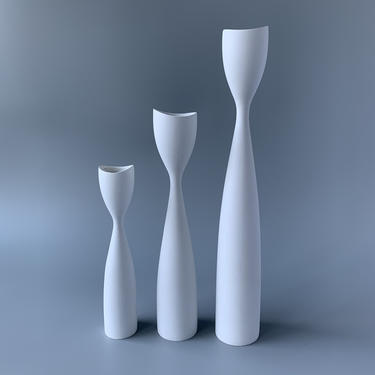 Trio of White Wooden Danish Candle Holders Candlesticks by HomeAnthology
