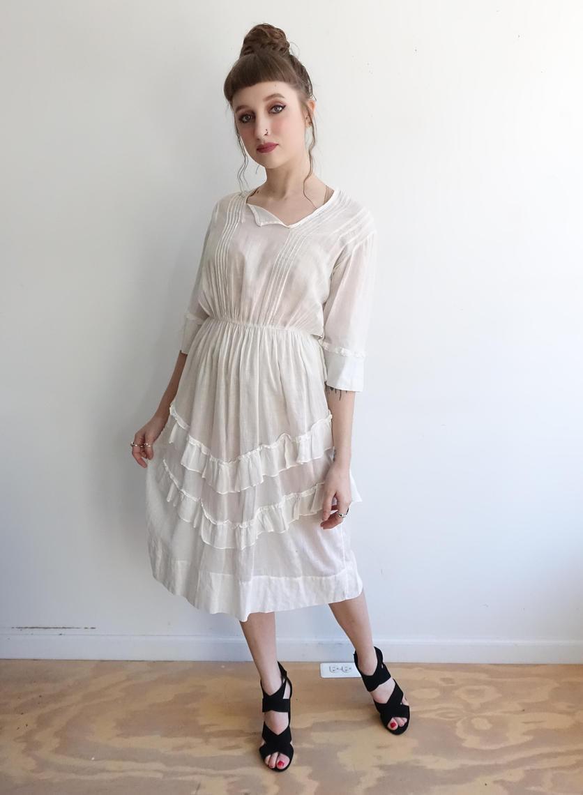f7f78565ed Antique Edwardian Lawn Dress/ White Cotton Sheer Ruffle 1900s 1910s ...