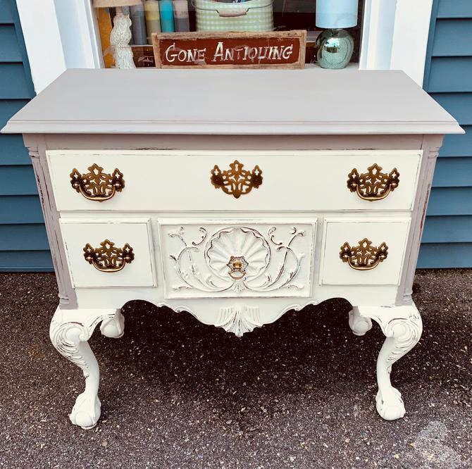 Stunning Solid Wood French Linen Gray / Antique White Clawfoot Console Table Buffet Server by JoyfulHeartReclaimed