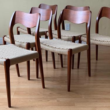 Set of 8 Moller Model #71 Dining Side Chairs, in Teak and new Danish Paper Cord by ASISisNOTgoodENOUGH