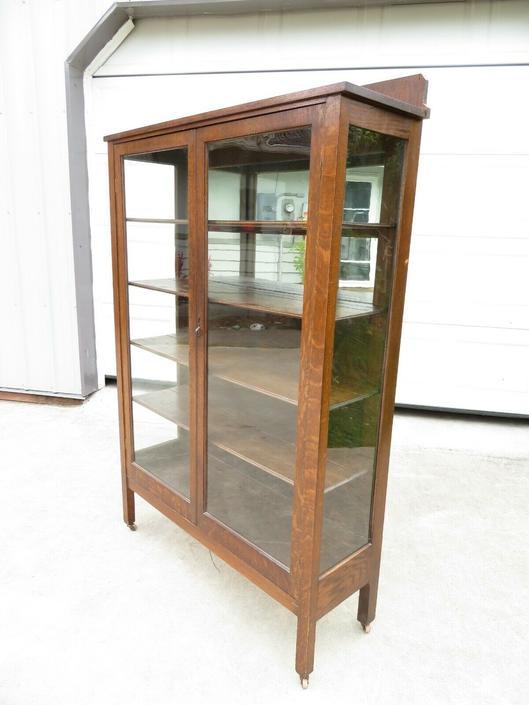 Antique ARTS & CRAFTS MISSION OAK GLASS DISPLAY CASE CURIO CABINET Bookshelf