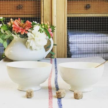 Beautiful set of 2 vintage French white cafe au lait bowl- SCB2 by Grainsacfrenchvintag