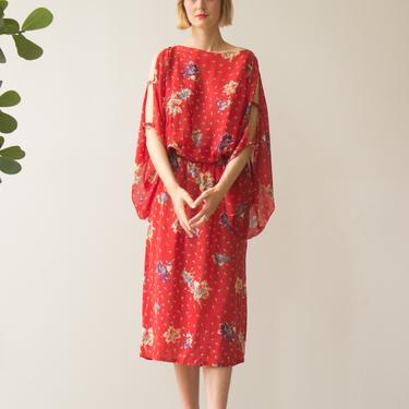 1970s Tomato Red Floral Rayon Kimono Sleeve Dress by waywardcollection