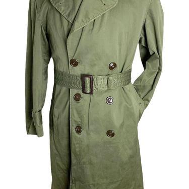 Vintage 1950s/1960s US Army OG-107 Trench Coat ~ Small Short ~ Korean / Vietnam War ~ Military Jacket / Trenchcoat ~ OD ~ by SparrowsAndWolves