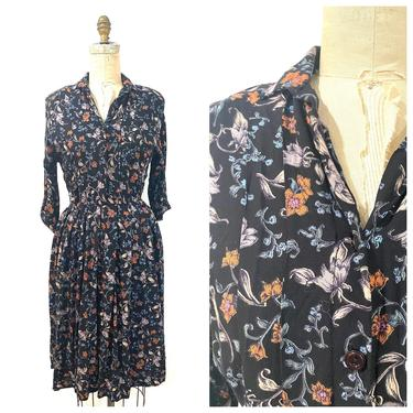 80s floral button up dress by harlowandspring