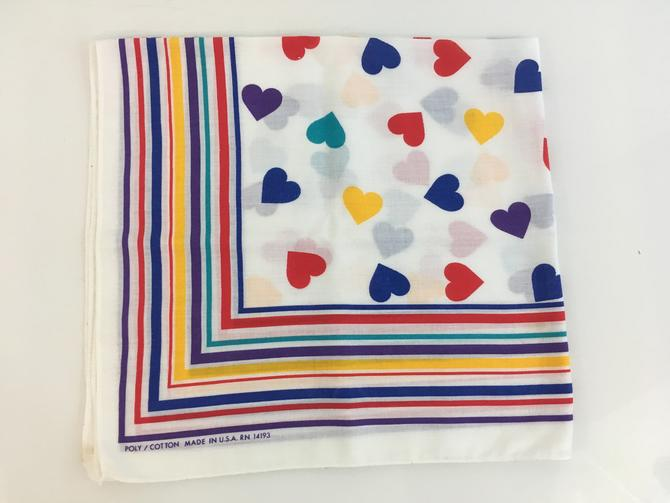 Vintage Heart Rainbow Square Scarf White Stripes Rosie the Riveter Handkerchief Hanky Poly/Cotton Mid-Century Retro Bandana Made in USA by CheckEngineVintage