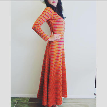 1970's vintage gold lurex and striped multi-color knit boho maxi dress. by MamaTequilasVintage