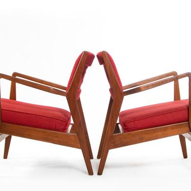 Jens Risom for Knoll Lounge Chairs in Red Knoll Upholstery on a Refinished Walnut Frame, USA by ABTModern