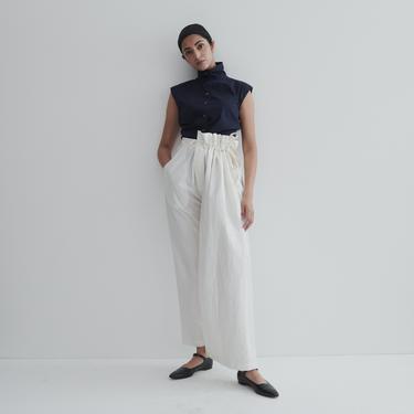 Vintage Asymmetric Linen Paper Bag Pants