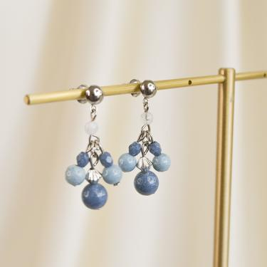 blue beaded dangle earring, bead dangle earring, boho earring, vintage earring, blue earring, blue stud earring, minimal dangle drop earring by melangeblancdesigns
