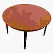 Danish Modern Teak Round-to-Oval Dining Table by Arne Vodder